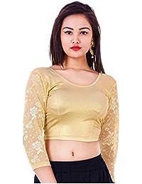 Fressia Fabrics Women'S Cotton Saree Blouse (118_Golden_Gold_Free Size)
