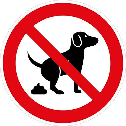 Hinweis-Aufkleber Hunde koten verboten I rund Ø 20 cm I Verbotsaufkleber keine Hundetoilette I wetterfest I hin_410