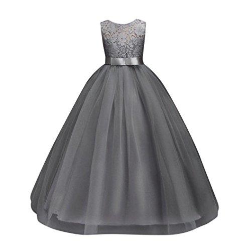 Longra Mädchen Kleid Festlich Kleid Brautjungfern Kleid Hochzeit Partykleid mit Spitze Tüll...