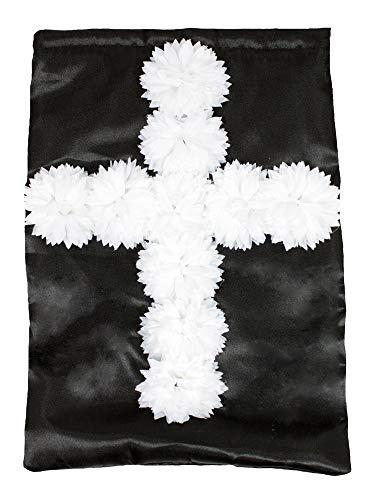 Witwe Weiß Schwarze Kostüm - Nonnen Handtasche mit Blumen - Schwarz Weiß - Umhängetasche JGA Karneval Mottoparty Nonnenkostüm