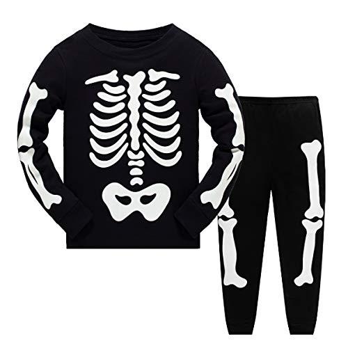Halloween Kostüme Kinder Mädchen Pyjama Set Nachtwäsche Langarm Baumwolle Kleinkind Kleidung Outfit Zweiteiler im Alter von 4 Jahren (Glühen in den dunklen Skeletten Knochen)
