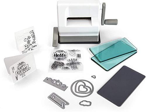 Sizzix Sidekick Starter Kit, Manuelle Stanz- und Prägemaschine mit Saugfuß, Framelits- und Thinlits-Schablonen, Textured Impression Prägeschablone und mehr, Größe 6,35 cm -