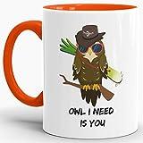 Tassendruck Eulen-Tasse mit Spruch Owl I Need is You - Kaffeetasse/Mug / Cup/Liebe / Für Sie & Ihn/Partner-Tasse/Innen & Henkel Orange