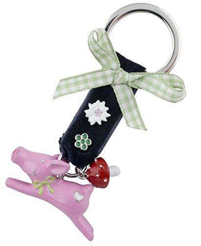 Gift Company portachiavi a forma di maialino, Piombo pressione in ghisa smaltata, rosa, L10cm/4,5 cm - Piombo Portachiavi