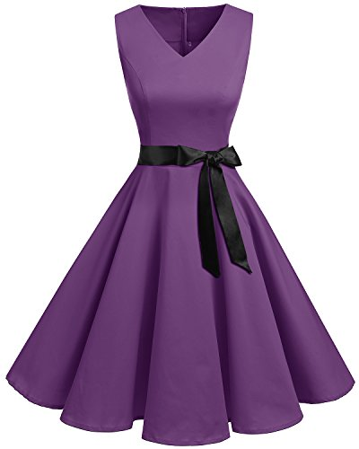 bridesmay Damen Vintage 1950er Rockabilly Ärmellos Retro Cocktailkleid Partykleid Purple 4XL