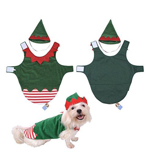 Elf Weihnachten Hunde Kostüm Für (MING Festival Atmosphäre Haustier Kleidung Weihnachten Clown Kostüm mit einer Mütze geeignet für Mittelklein) Sogs Katzen und andere kleine)