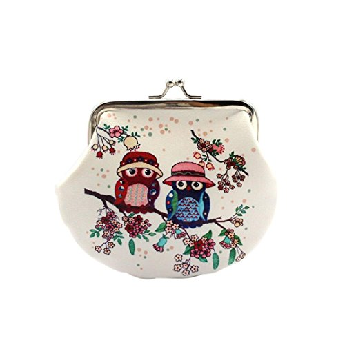 Damen Frauen Mädchen Retro Vintage Owl Leder Kleine Brieftasche Haspe Geldbörse Clutch Bag (A)