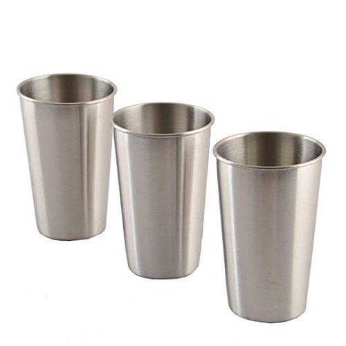 Manum, Wasserbecher, 3 Stück,Edelstahlbecher für Saft, Bier, Portionierungsbecher für Zuhause oder Reisen Einheitsgröße 500ML -