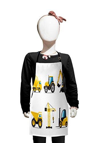 Lunarable Kinderschürze, Cartoon-Stil, schwere Maschinen, LKW, Kran, Bagger, Mischer, Traktorbau, Jungen Mädchen, Schürze mit verstellbaren Bändern zum Kochen und Backen und Malen, Gelb Grau (Cartoon Billig Charakter Kostüme)