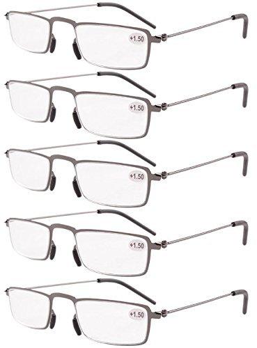 Eyekepper 5 Pack Gerage Duenn gestanzten Metallrahmen Half-Augen Stil Lesebrille Leser Gunmetal +1.5