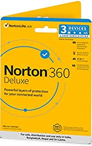 Norton 360 Deluxe | 3 Users 3 Years | Total Security for PC, Mac, Android or iOS | Physical Delivery | No CD