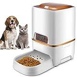 Sailnovo Alimentatore Automatico per Cani e Gatti, Distributore di Cibo Feeder per Animali con Timer con LCD Display et Registra Voce, 6L, d'oro