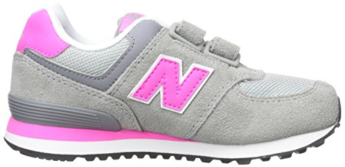 New Balance Unisex-Kinder 574 Hohe Sneakers Mehrfarbig (Grey/Pink 026Grey/Pink 026)