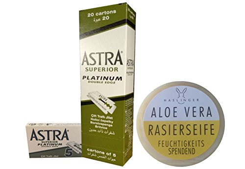100 Astra Superior Platinum Rasierklingen & Haslinger Aloe Vera Rasierseife (60 Gramm)