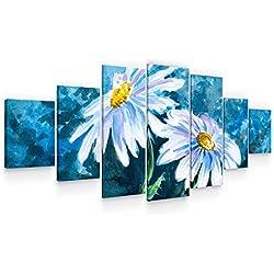Startonight Grande Cuadro Moderno en Lienzo - Margaritas Blancas sobre Fondo Azul - Pintura Naturaleza para Salon XXL Decoración 7 Piezas 100 x 240 CM
