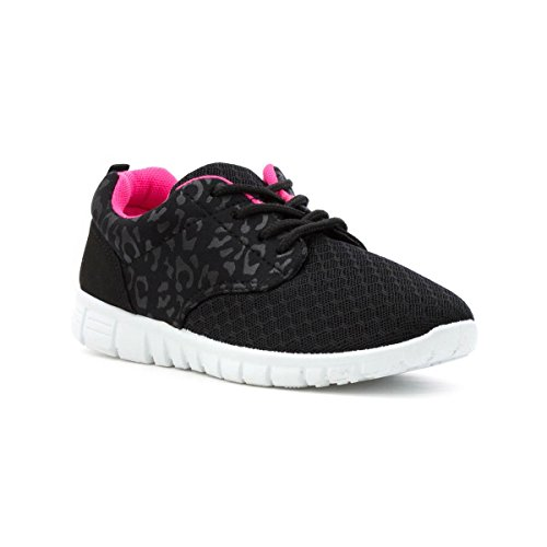 Lilley Girls Black Lace Up Lightweight Trainer - Size 1 UK - Black