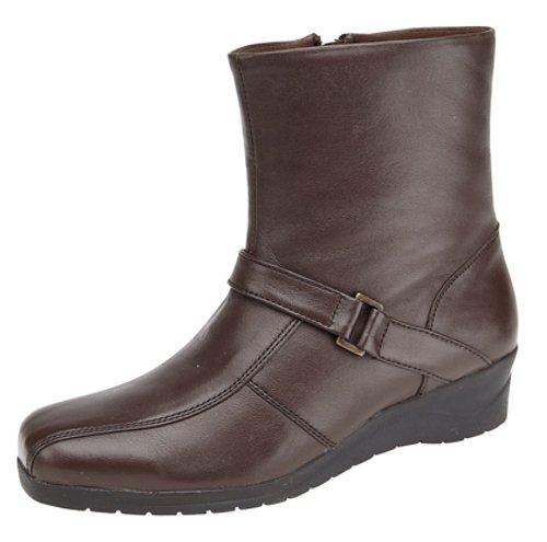 Stifelletten mit Reißverschluss Innen Damen-Ankle-Boots, Echtleder, Keilabsatz, weich Braun