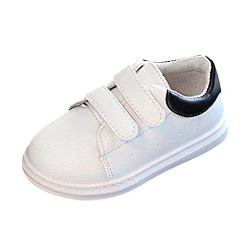 JERFER Kleinkind Mode Solide Sneaker Kind Mädchen Jungen Kleinkind Freizeitschuhe Sport Weiß Schuhe (27, Schwarz) -