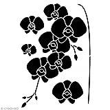Artemio Orchideen Schablone Home Deko A3, Kunststoff, schwarz, 30,5x 0,2x 47cm