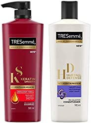 TRESemme Keratin Smooth Shampoo, 580ml & TRESemme Hair Fall Defense Conditioner, 190ml