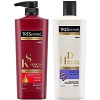 TRESemme Keratin Smooth Shampoo, 580ml & TRESemme Hair Fall Defense Conditioner, 190ml