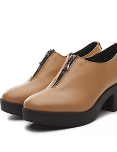 ZQ Scarpe Donna - Stringate - Casual - Punta arrotondata - Quadrato - Finta pelle - Nero / Marrone , brown-us8 / eu39 / uk6 / cn39 , brown-us8 / eu39 / uk6 / cn39 black-us7.5 / eu38 / uk5.5 / cn38