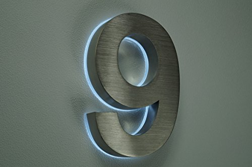 HAUSNUMMER 9 EDELSTAHL in 3D beleuchtet ca.H18cm/180mm LED weiss (12Volt) ohne Trafo