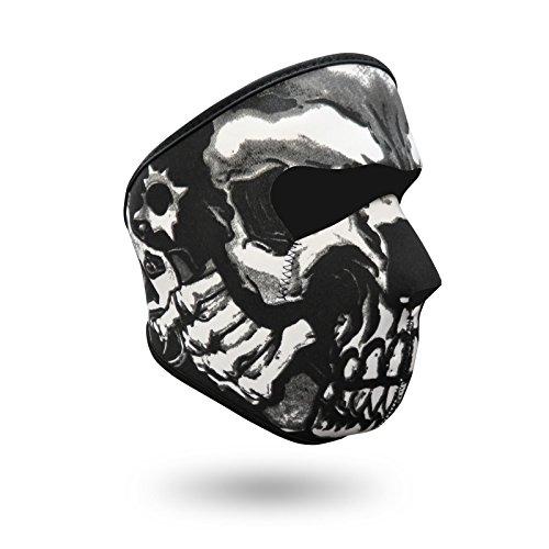 iXium Full Face Maske aus Neopren Outdoor Sport Balaclava Bandana BMX Motorrad Biker Quad Ski Masken Filter-Evil Skull Revolver Gun Design -