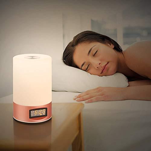 Ocamo Despertador de luz LED Despertador de Sunrise Reloj de Alarma de simulación con 7 Colores Luz de Noche Luz de Humor Dolado