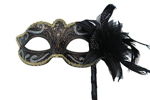 e und Gold Mit Blumen und Federn Venezianische Maskerade Partei Karneval Maske auf einem Stick (Stick Auf Masken Für Maskeraden)