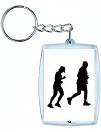 """'Porte-clés """"Bonhomme de Paires de Madame de Mâle de Femelle de humaine de Personnes de Personnes de jogging Course exercice de santé Sac de fitness en noir/blanc/bleu/rose/jaune/rouge/vert   Caddie–Remorque–Sac à dos–Porte-clés, Weiß"""