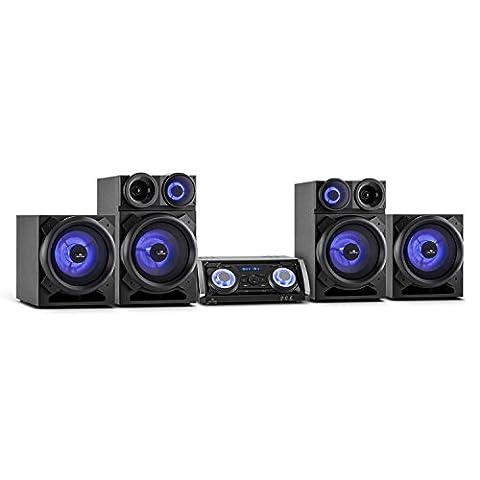 Malone Mega Party Système Audio hifi (3 entrées micro pour karaoke, home cinéma multifonctions, effets de lumière, lecteur DVD, HDMI, 4 enceintes dont 2 subwoofers)