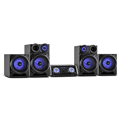 Malone Mega Party • PA Audiosystem • Stereoanlage • Karaokeanlage • max. 720 W • DVD- und CD-Player • Bluetooth • UKW Radio • USB • 2 x 3-Wege Box • Karaokesektion • 3 Mikrofoneingänge • LED • schwarz