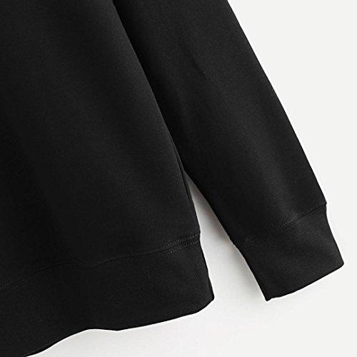 Longra Colori in cotone di colore solido delle donne in gatto nero e bianco che stampano la maglietta lunga della camicetta a manica lunga del manicotto Nero