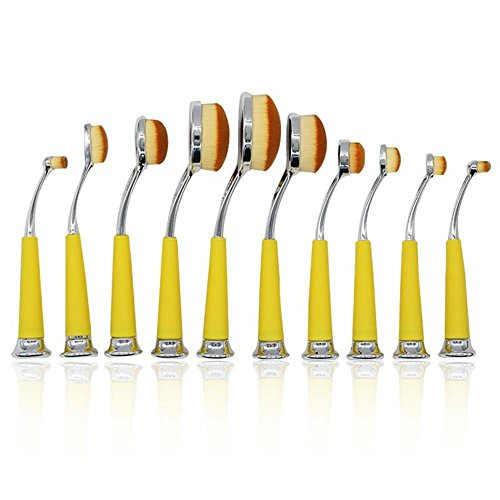 10 PCS Type de brosse à dents verticale verticale Outil de maquillage professionnel set brush / MakeUp Cosmetic Set Eyeshadow Foundation Brush blusher Kit d'outils , yellow