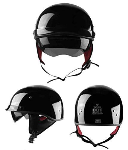 Motorradhelm Elektroauto/Fahrrad/Schutzkappe Unisex/Retro Harley High-End/abwaschbaren Kragen zum Warmhalten-Brightblack-M