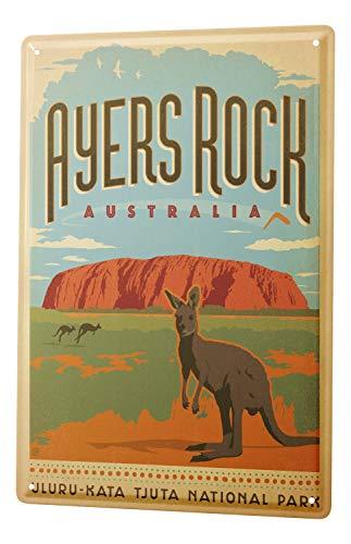 LEotiE SINCE 2004 Blechschild Dekoschild Küche Garage Welt Reise Ayers Rock Australien Känguru National Park Wand Deko Schild 20X30 cm