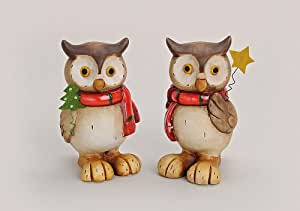 Magnifique objet de décoration - 2 x décoratif en forme de chouette avec une écharpe en terre cuite de 17 cm, excellente idée cadeau pour noël, noël