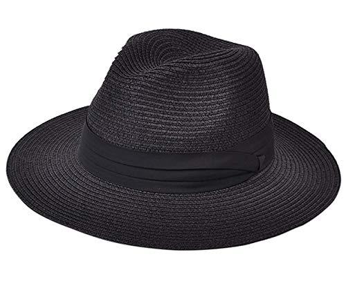 7b5bfe3ba DRESHOW Femme Chapeau Panama en paille Chapeau de soleil Fedora Beach  Chapeau à bord large Paille à enrouler Chapeau UPF 50+