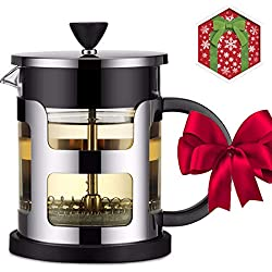 Suliko French Press Kaffeebereiter & Kaffee-Kane (21 oz, 600ml), Maker mit Ultra - Filter aus Glas und Edelstahl, Doppel - Mauer der French Press Kaffeemaschine, Schwarz