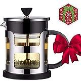Suliko Francese Press Caffe & The Tea Maker (21 Oz, 600ml), 3 Ultra Bene Filtro Schermi & Borosilicato Vetro Doppio Muro Di Acciaio Inossidabile, Stampa Francese La Macchinetta Del Caffe, Nero.