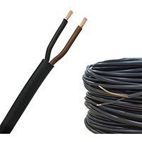 Besser Elektrisches Kabel, gummiert, 2 x 1, für elektrische Leitungen, einfache Matasse, 100 m, schwarz