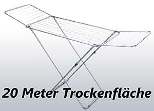 XXL Flügelwäschetrockner mit 20 Meter Trockenfläche in silber