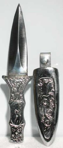 Engraved Silver Boot Athame by Genuine Azure Green