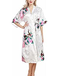 Puluo Womens Peacock Nightwear Pyjamas Silk Satin Blossoms Robe Bathrobe Nightdresses Soft Kimono Gown