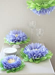 Buy girls party decorations set of 7 purple tissue paper for Decorate with flowers amazon