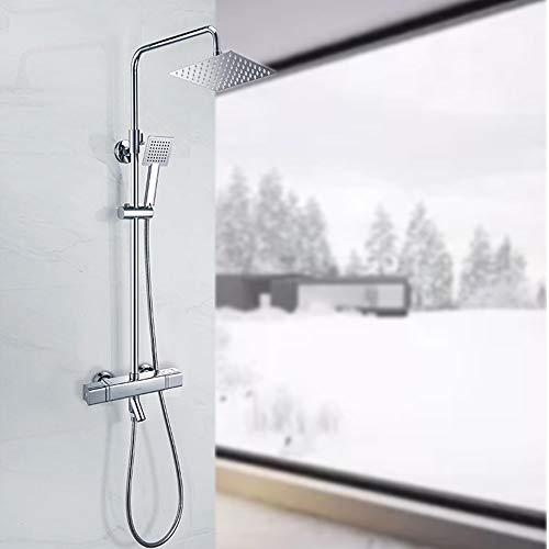 Tan Badezimmer-Duschsystem, Thermostat-Duschen Mit 3 Funktionen Luxuriöse, Höhenverstellbare, Freistehende All-In-One-Regenduschen-Mischbatteriesatz Messing-Vierkantdusche Chrom