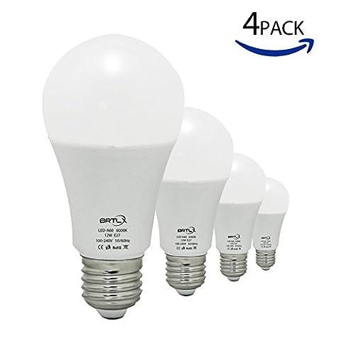 BRTLX 12W E27 Ampoules LED Non-Dimmable Blanc Froid 6000K A60 100 Watt Ampoule à incandescence Équivalent Angle De faisceau De 200 Degrés 1080Lm Givré