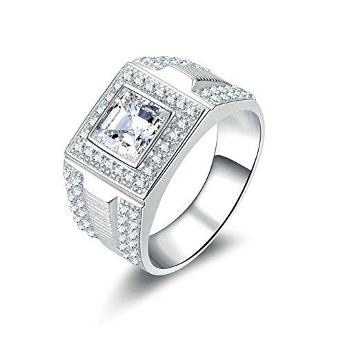 Anazoz fedina argento donna 7mm taglio della principessa cubic zirconia incisione gratuita anelli donna argento a fascia misura 20