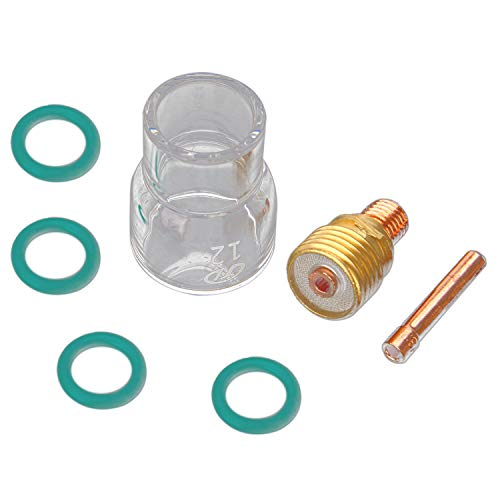 Binchil 7pcs/Set # 12 Pyrex Glass Cup Kit Stubby Collette Corpo Gas Lens Tig Torcia Per Saldatura Wp-9/20/25 Mayitr Accessori Per Saldatura